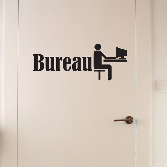 Door bureau wall stickers vinyl wall decor poster mural for Decoration porte interieure poster sticker