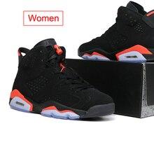 a9e2903a597 Homens Jordan Retro tênis de basquete 6 Mulheres Sapato Preto Infravermelho  Ao Ar Livre esporte sapatos