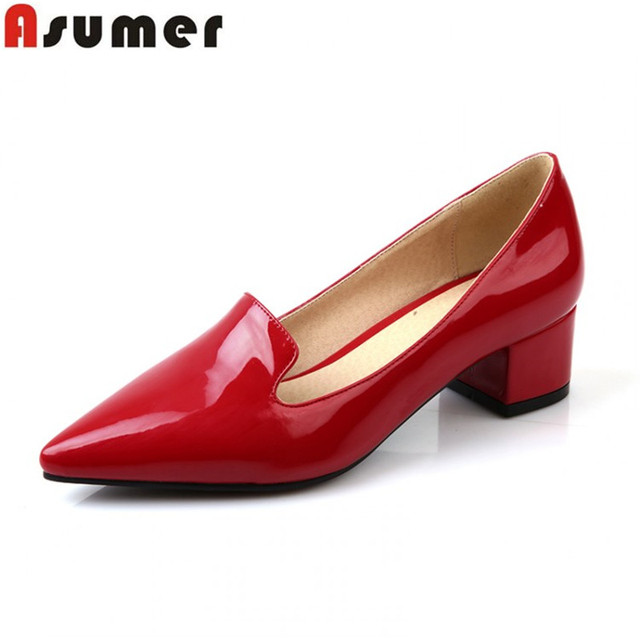 top quality patent leather women pumps fashion elegant thick heels ladies shoes med heels sweet dress shoes