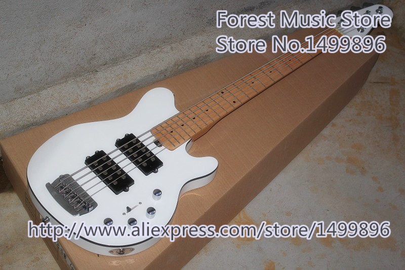 New Arrival Chinese Glossy White Finish Music Man Reflex 5 String Electric Bass Guitars Free Shipping new arrival chinese left handed 6 string electric bass guitars with metallic blue finish for sale