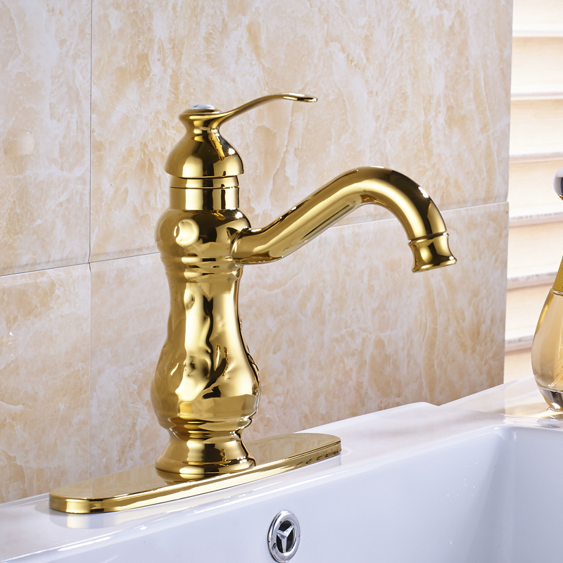 Best Quality Golden Color Basin Faucet 6 Inch Round Hole Cover Plate ...