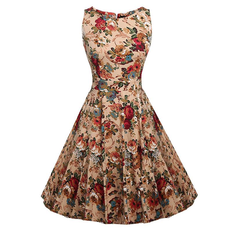 Kostlish Cotton Summer Dress Women 2017 Sleeveless Tunic 50s Vintage Dress Belt Elegant Print Rockabilly Party Dresses Sundress (25)