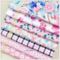 15080101 Free Shipping 7 Styles Flower Mixed With 50cm 50 Cm Cartoon Cotton Fabric DIY Handmade