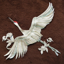 1PCS Red crowned cranes Lace Applique patch DIY accessories цена и фото