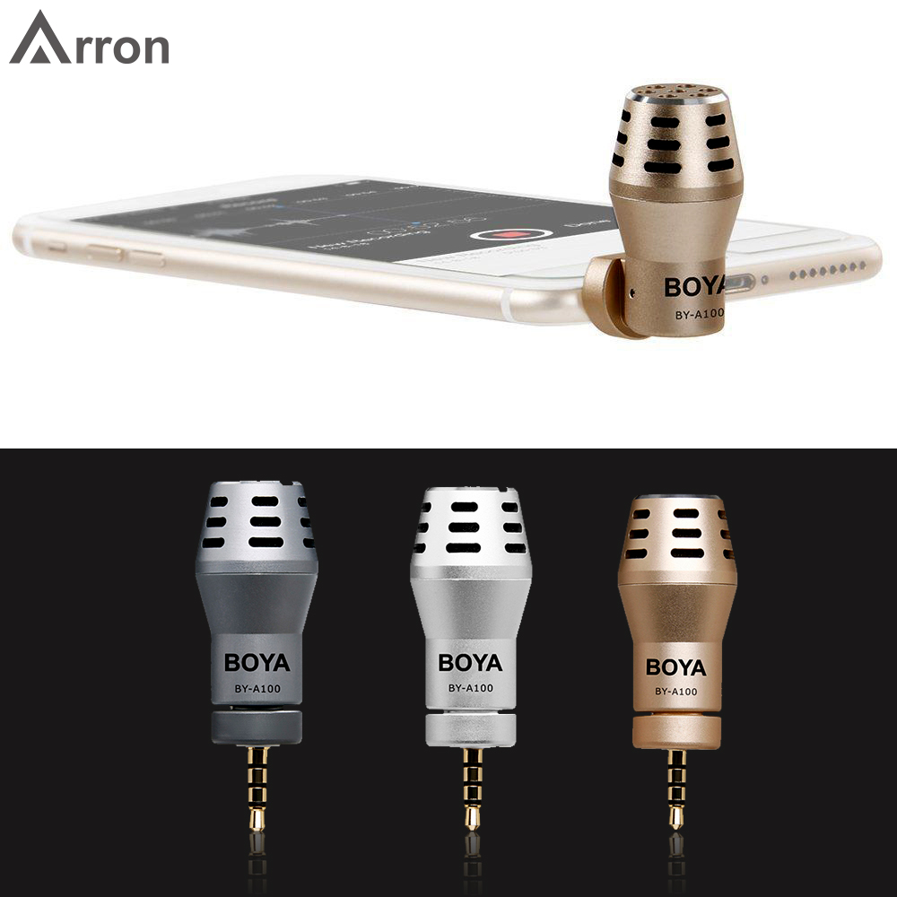 3 colour BOYA BY-<font><b>A100</b></font> Omni Directional Condenser Phone Microphone for iPhone 6/6S/5/5S iPad iPod Android <font><b>Samsung</b></font> S6 S5 S4 HTC image