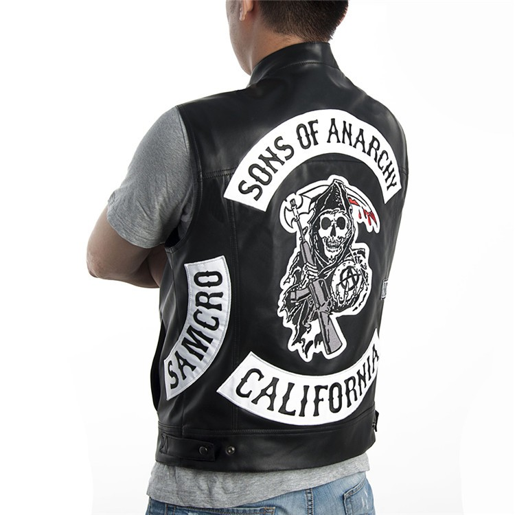 Motorcycle Chaleco Sons Club Bordado Moda Of Rasmeup Hombres Anarchy gAXqaTO
