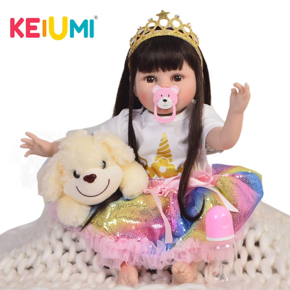 цена на KEIUMI 22''Realistic Baby Doll Soft Silicone Vinyl Reborn Baby Dolls Girl 55 cm Real Like Princess Toys For Child Birthday Gifts