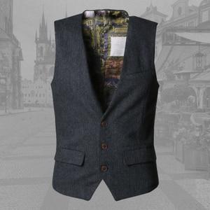 Image 5 - men casual sleeveless jacket coat mens formal waistcoats dress suit vest slim Three button Woolen vest British suit vest M87