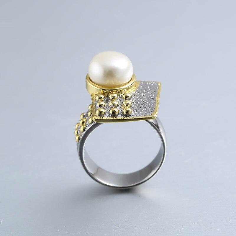Baroque perle anneaux pour femmes bijoux 925 en argent sterling 10mm perle anneaux or fait à la main design géométrique face avant naturel - 2