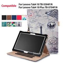 Caso Para Lenovo Tab 4 10 TB-X304F TAB4/N Smart Cover Para Lenovo Tab 4 Plus 10 TB-X704F/N Funda Cuero de la Tableta el Sostenedor de la Mano Shell