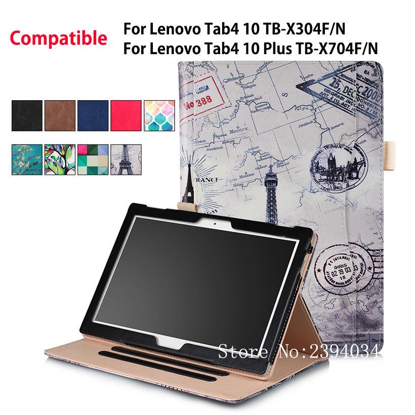 Case For Lenovo TAB4 Tab 4 10 TB-X304L TB-X304F/N Smart Cover For Lenovo Tab 4 10 Plus TB-X704L TB-X704F/N Funda Tablet Shell