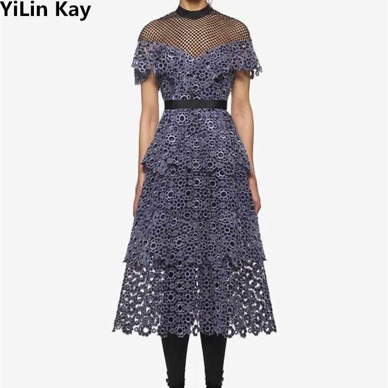 44468340134 Высокое качество на заказ Автопортрет фиолетовая вышивка хохлатые цветы платья  2017 Осень Мода Подиум стиль кружевное