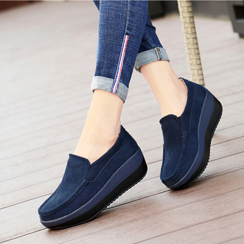 MCCKLE New Women's Shoes Loafers Ballet   Suede     Leather   Flat Platform Solid Female Comfortable Shoes Slip On Moccasins Shoes