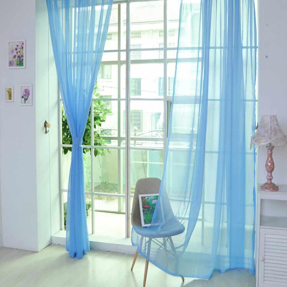 1 PCS Curtain Pure Color Tulle Door Window Curtain Drape Panel Sheer Scarf Valances Modern Bedroom Living Room Curtain black