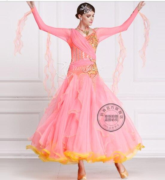customize rhinestone pink back cutout Fox trot Waltz tango salsa competition  ballroom dance dress f8c79c65a96d