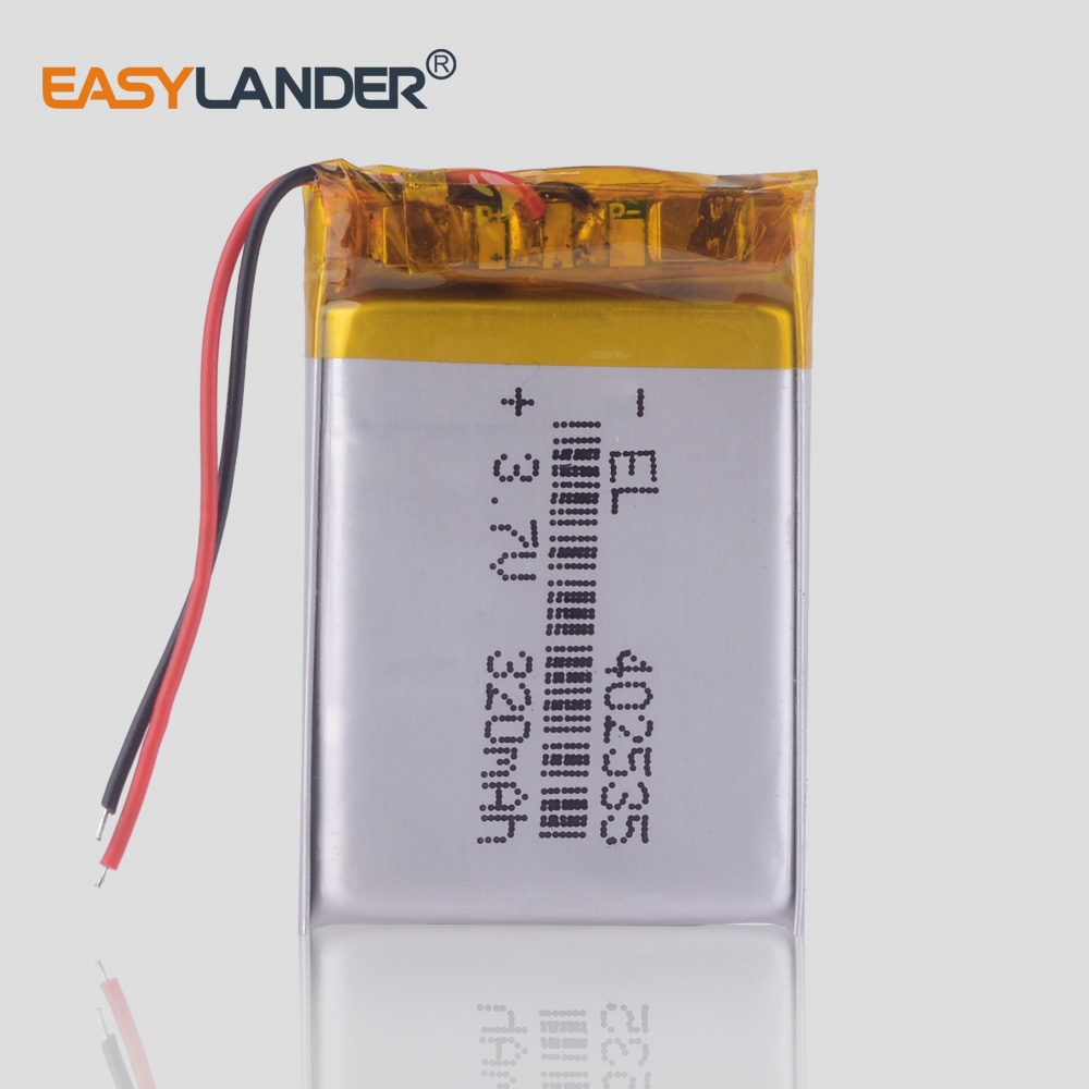 DC <font><b>3.7V</b></font> <font><b>320mAh</b></font> 402535 Li-ion Rechargeable Lithium Polymer Li-Po Battery for MP3 player keychain camera dash cam GPS image
