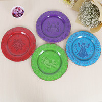 9 Inches Beautiful Color Flower Dessert Plate Eco Friendly Melamine Party Decorative Plate Never Break Christmas