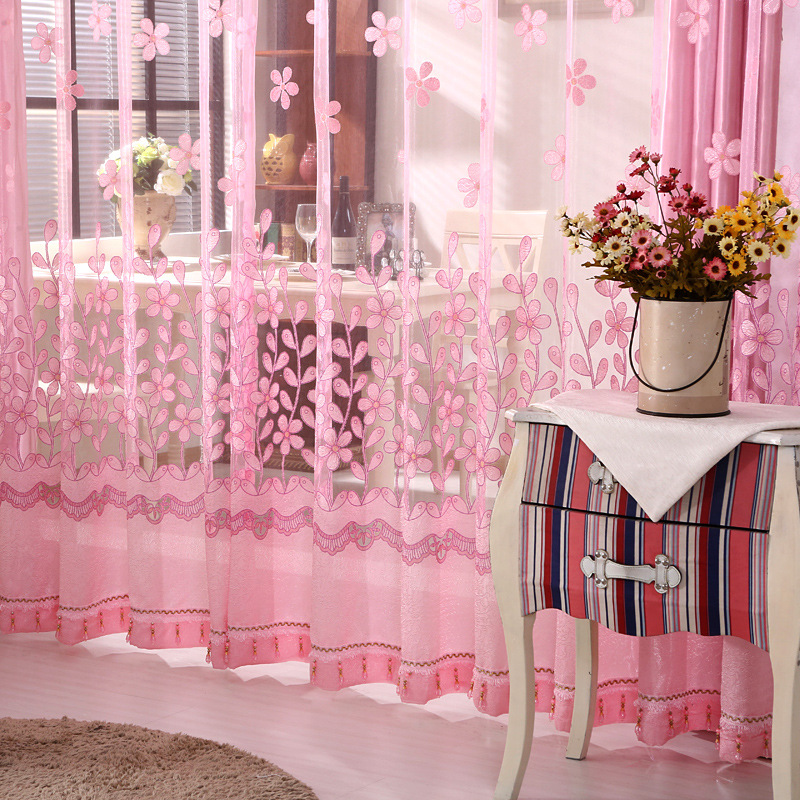2017 New Curtains for Dining Living Bedroom Room Girl Flowers Pink ...
