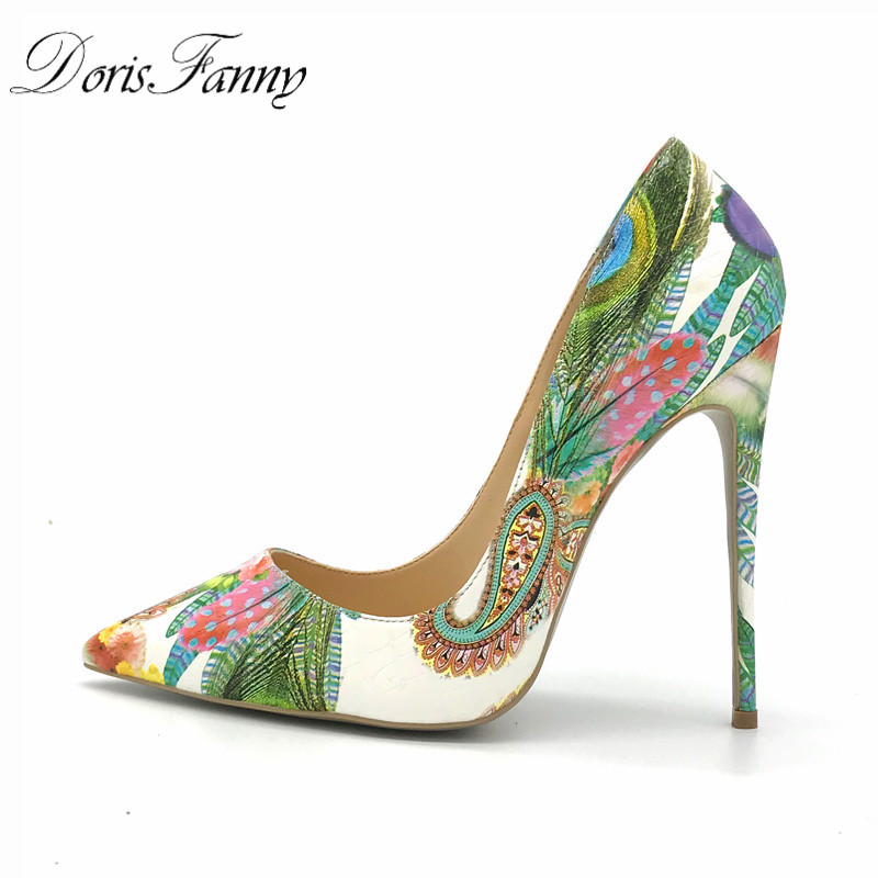 DorisFanny woman shoes <font><b>2017</b></font> girls <font><b>sexy</b></font> <font><b>high</b></font> heels printed multi colors stilettos 12-10-8cm wedding shoes image