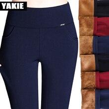 S-4XL Women's Winter Pencil Pants Fashin Warm Thicken Pant Plus Size Casual Elastic Female Pants high waist Women Female Pants