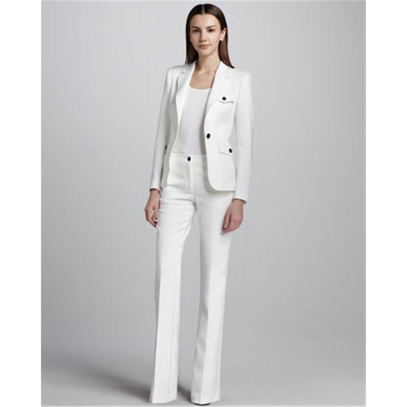 Traje de trabajo de negocios de un botón blanco para mujer