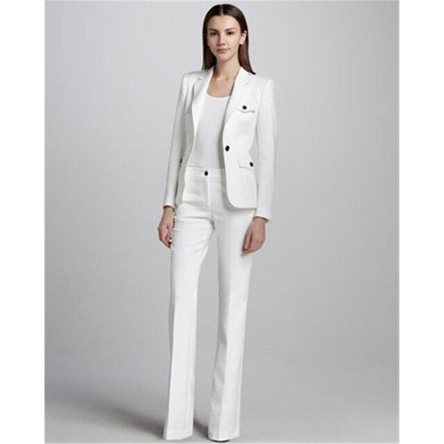 Traje de trabajo de negocios de un botón blanco para mujer uniforme de  oficina de boda c75708c416af