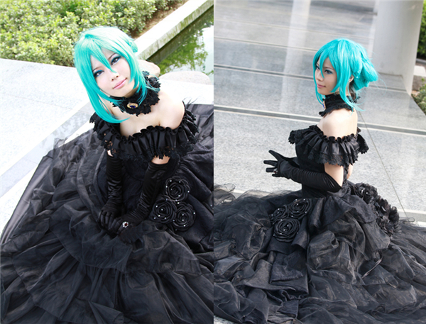 Anime Vocaloid Hatsune Miku Black Dress Uniform Cosplay Costume Black Dress ночная сорочка 2 штуки quelle quelle 721100