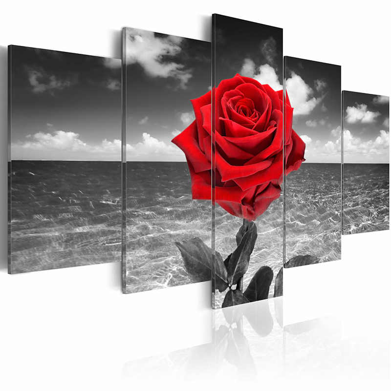 5 pieces/set Red rose poster series Picture Print Painting On Canvas Wall Art Home Decor Living Room Canvas Art PJMT-B (170)