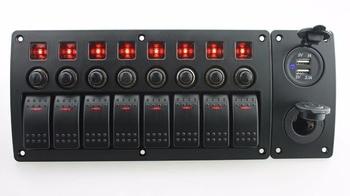 IZTOSS red led DC12/24 V 8 Gang on-off rocker switch cong panel sạc điện và 3.1A USB ổ cắm và circuit breaker với lab
