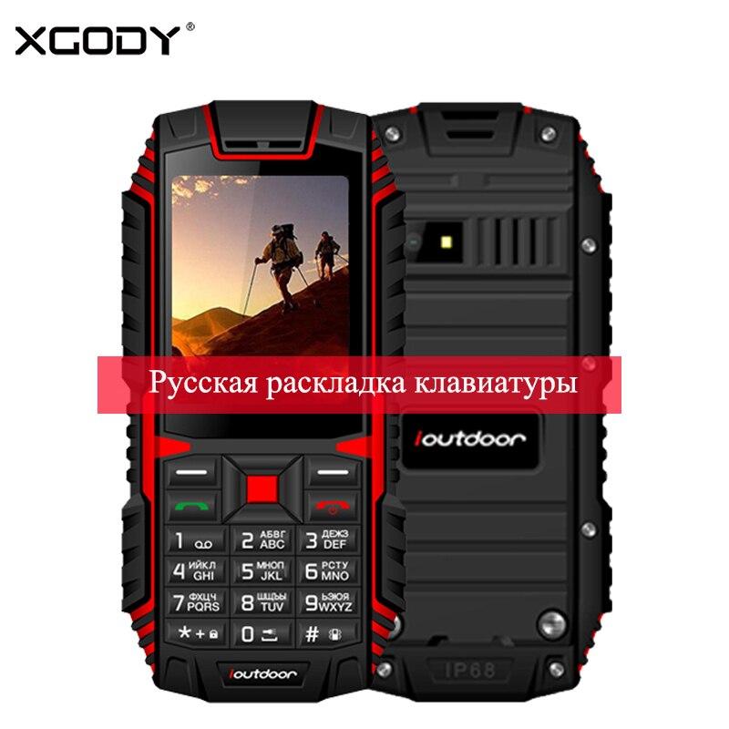 XGODY ioutdoor T1 2 г IP68 телефон Водонепроницаемый 2,4 дюймов телефоны Celular 128 м + 32 м GSM 2MP сзади камера FM 2100 мАч прочный мобильный телефон