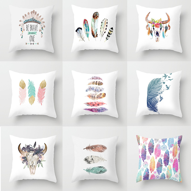 ><font><b>Colorful</b></font> <font><b>Feather</b></font> Cushion Cover Home Decor Peach Skin Pillow Covers for Living Room <font><b>Sofa</b></font> Bedroom Decorative Accessories 45x45cm