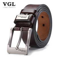VGL Designer Genuine Leather Strap Male Vintage Belt Men High Quality Pin Buckle Mens Wide Casual