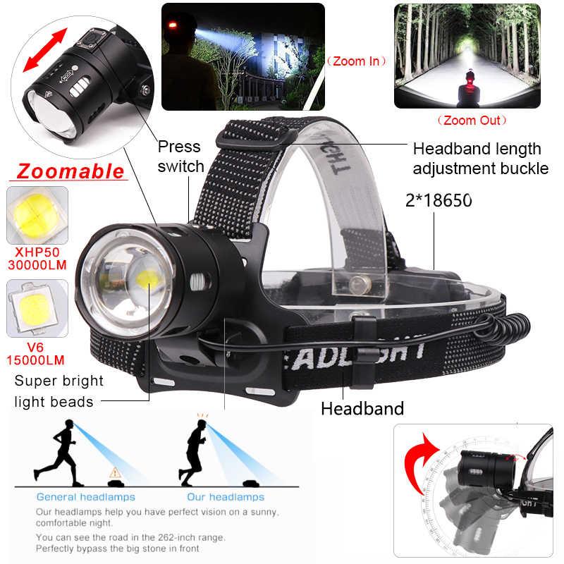 7000LM Scheinwerfer Leistungsstarke XHP 50 Led scheinwerfer Super Helle V6 Kopf Lampe Angeln fahrrad Taschenlampe linterna Camping Licht