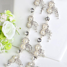 1Yard Sew On Pearl Diamond Rhinestone Chain Trim Tassel Crystal Trimming For Wedding Accessory AIWUJIA