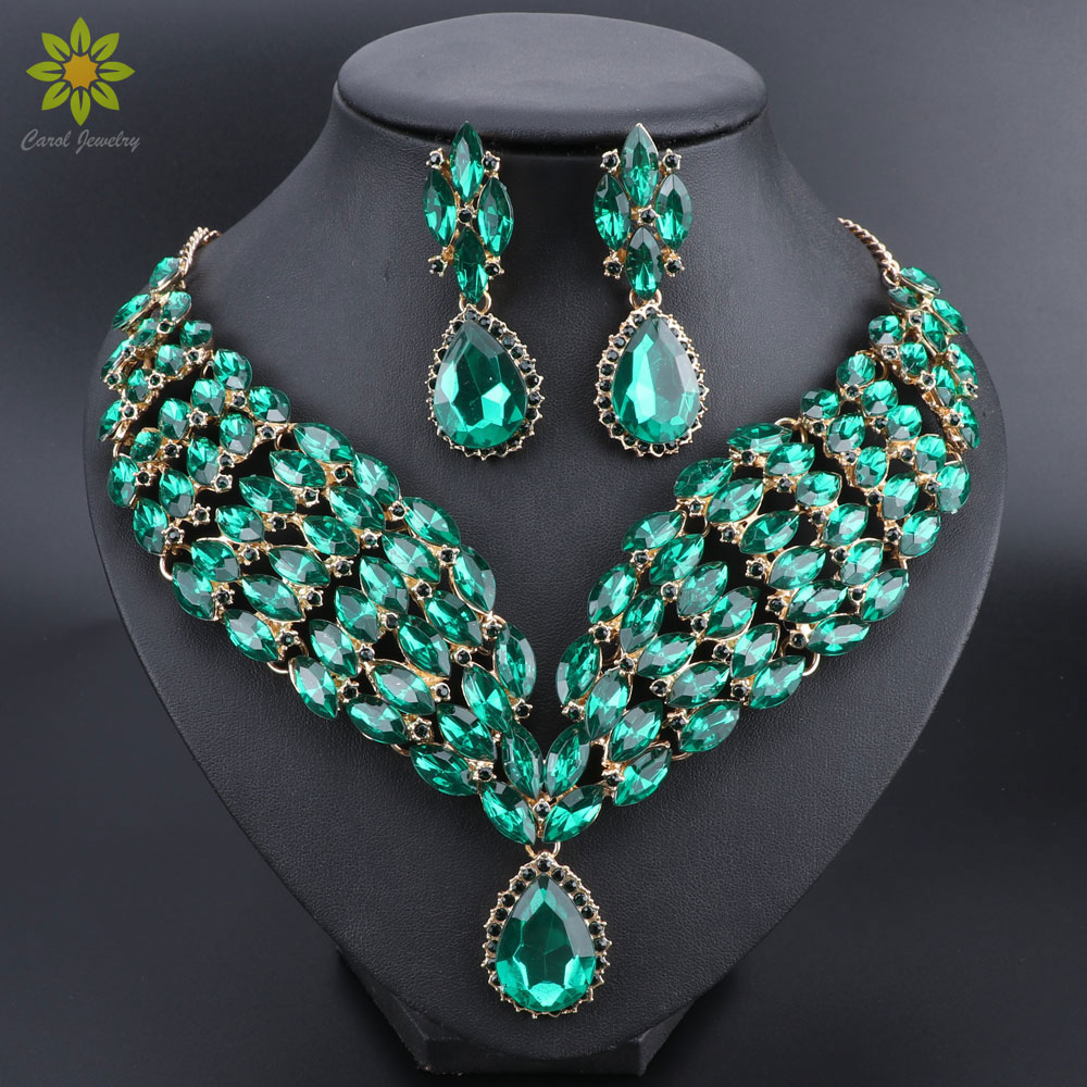 New Green Crystal Statement Necklace Earrings Set Gold Color Jewelry Sets Indian Bridal Wedding Costume Jewellery
