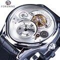 Мужские часы Forsining  с серебристым корпусом  из натуральной кожи  роскошный дизайн 2017