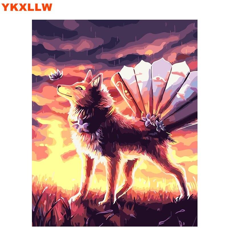 Tier DIY Digitale Malerei Durch Zahlen Abstrakte Wolf Farbe Zahl Ölgemälde  Kits Bilder Auf Leinwand Wohnzimmer Dekoration