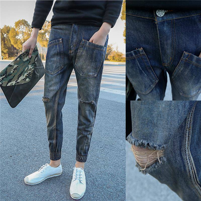 Social Spiritual Boy Pants Thin, Tight, Shabby, Hollow Jeans, Men's Short-Handed Shortpants, Red Man