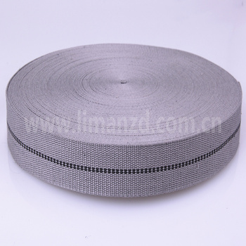1.5 inch grey twill cotton tape webbing for bag strap with black striped line for sale