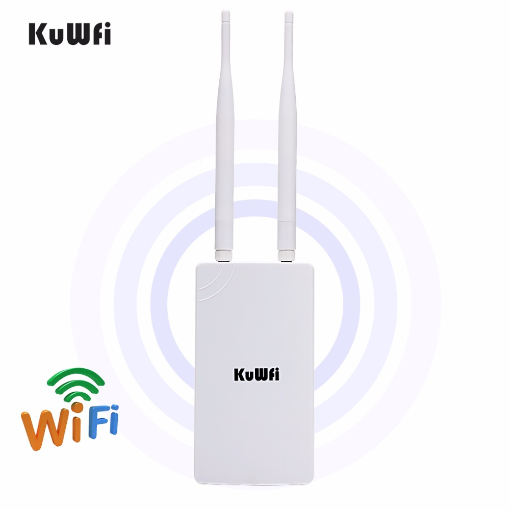 KuWfi 300Mbps Wireless CPE Router 1 2KMOutdoor Wireless AP Router Omnidirectional Coverage Waterproof Wifi Repeater with