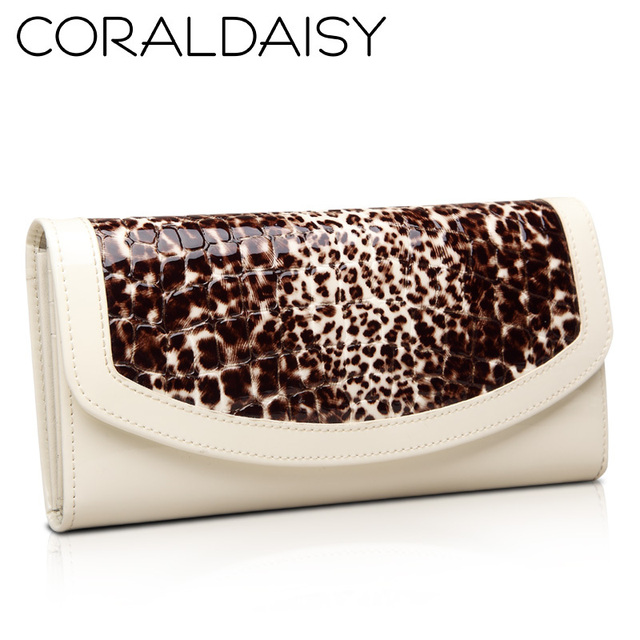 Coraldaisy   New  2013    European And American Style  Leopard Wallets Hasp Purse Genuine Leather Wallet