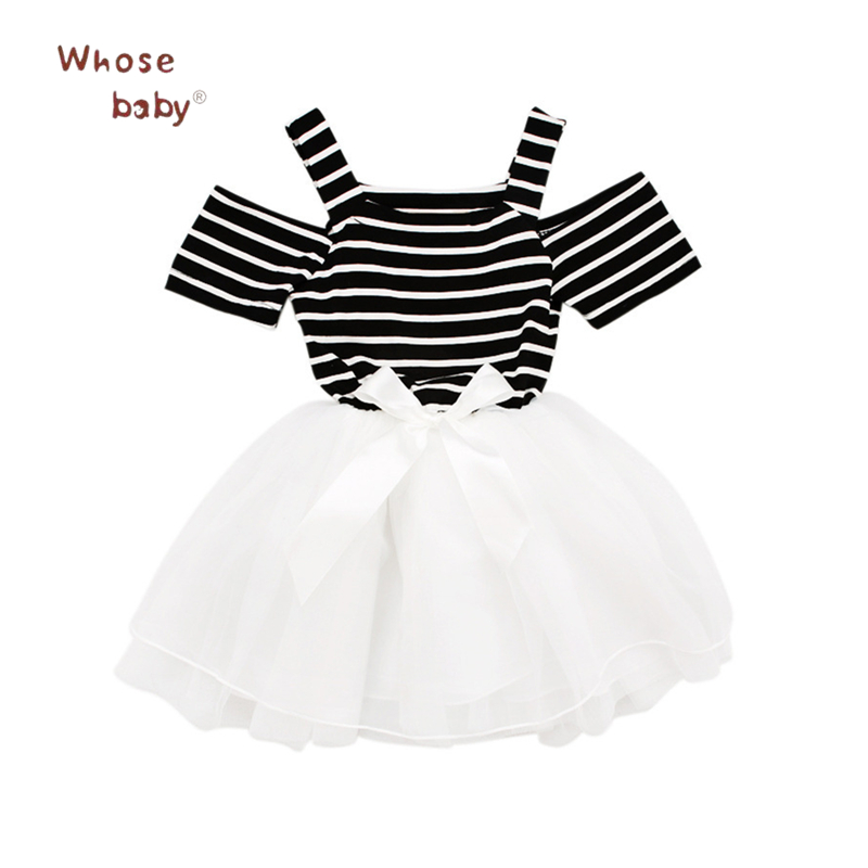 2018 Summer Girls Dress Bow Princess Dresses For Baby Girls Cotton Striped Print Kids Clothes Party Wedding Children Clothing summer 2017 girls dress printed cotton dresses for girls infant dress sweet ice cream children clothing princess kids clothes