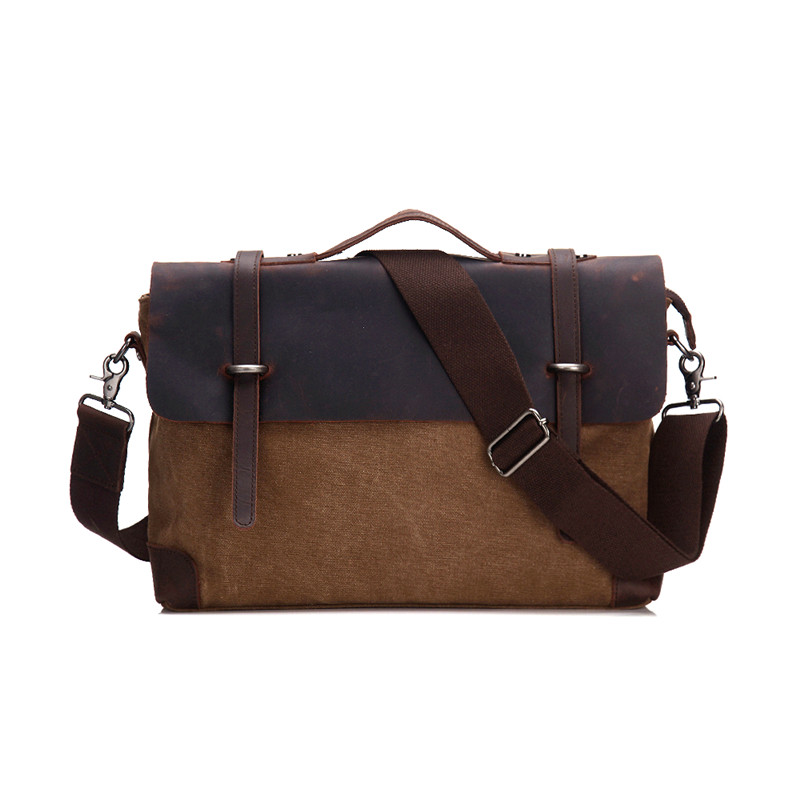 Nesitu High Quality Vintage Crazy Horse Leather Canvas Men Messenger Bags Man Briefcase Portfolio 14'' Laptop Bag #M6898 vintage genuine leather men briefcase bag business men s laptop notebook high quality crazy horse leather handbag shoulder bags