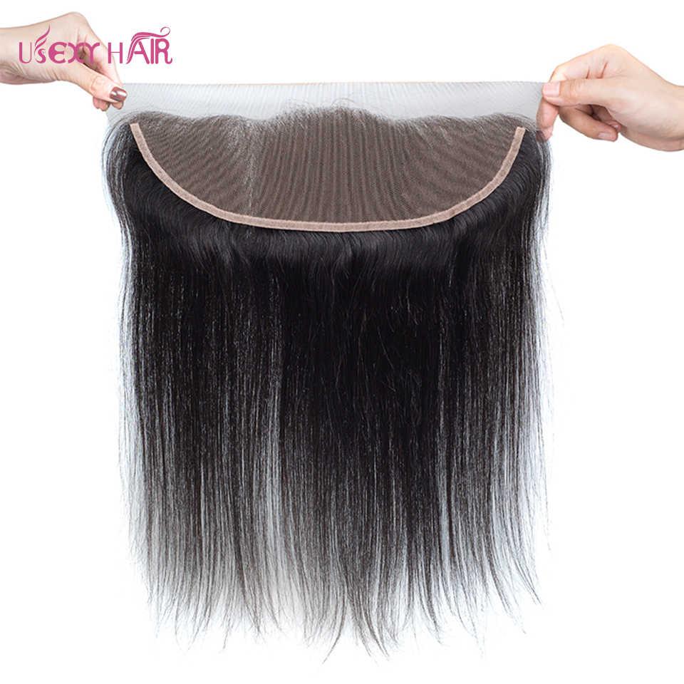 USEXY волосы бразильские прямые волосы плетение пучки Кружева Фронтальная Закрытие с пучками Remy человеческие волосы 3 пучка с фронтальной