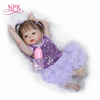 NPK 23'' Full Silicone Vinyl Reborn Baby Girl Realistic Alive Newborn Babies Doll Ethnic bebe Toddler For kids Xmas Gifts