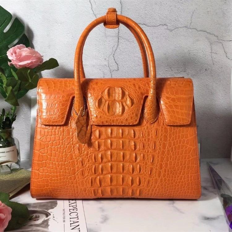 Genuine Alligator Skin Women s Large Top handle Handbag Lady Orange Purse Exotic Crocodile Leather Long