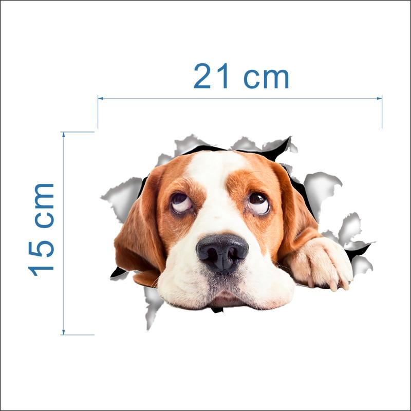 Cats Dog 3D Wall Sticker Bathroom Toilet Living Room Kitchen Decoration Animal Vinyl Art Sticker Poster 8