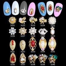 100PCS=1Lot Metallic Pearl Gold Nail Art Tips Shell Sticker Accessories Glitter Crystal Charm Decoration