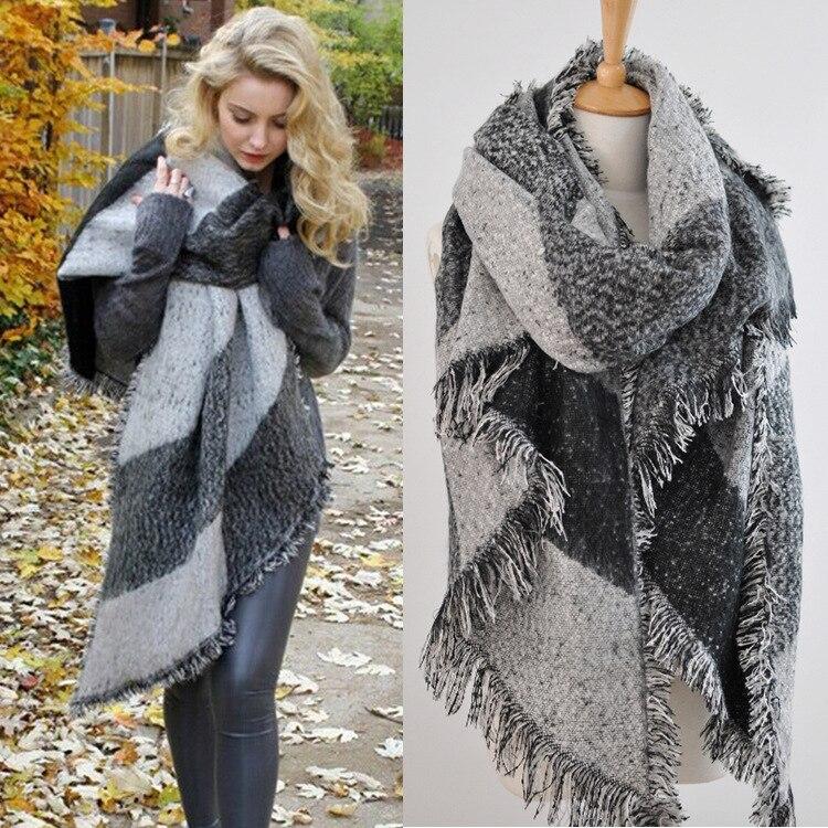 Fashion Pashmina Women Scarf Thickening Warm Winter Plaid Scarf Shawl Reversible Cape Shawl Wrap Blanket Warm Poncho HO950750