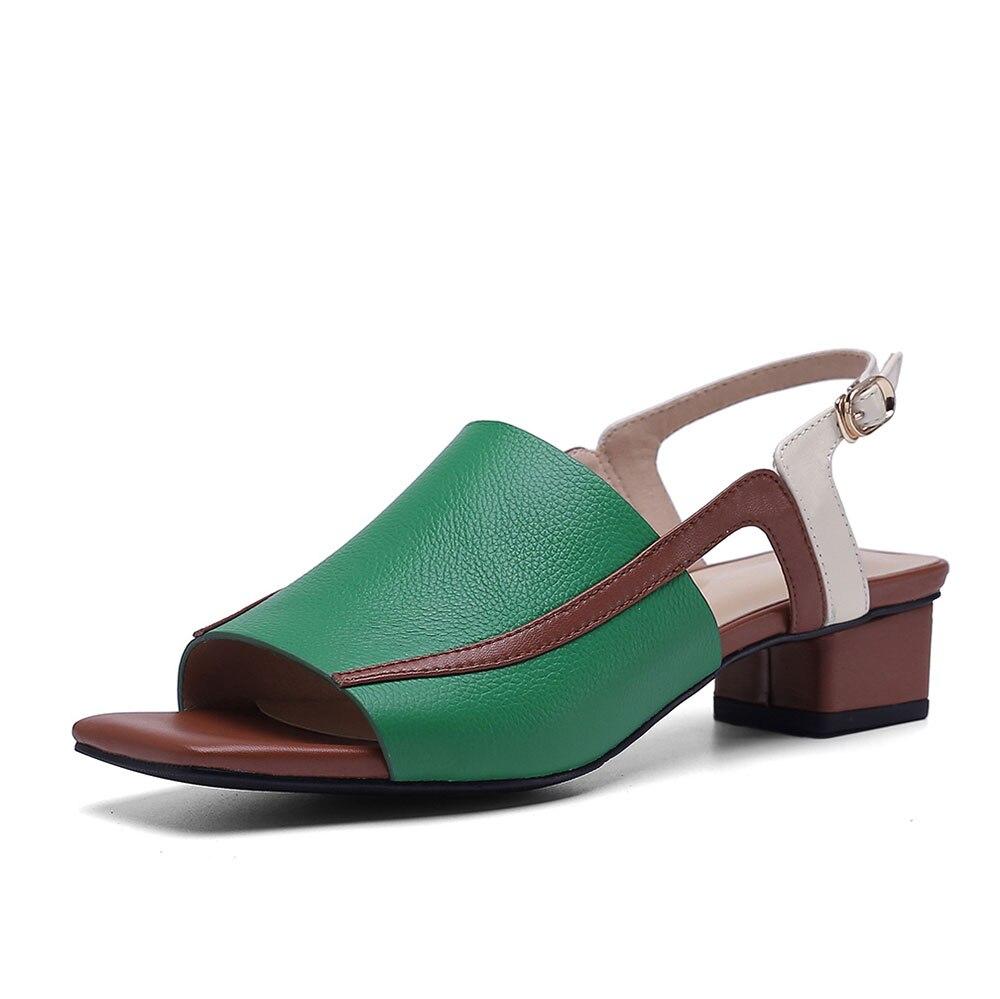 Strap Frauen Sommer Leepo Schwarzes Echtem Leder Heels Zurück grün Handgemachte Drucke Alias Weiblichen Sandalen Hochzeit Pumpen Schuhe AAOWn7